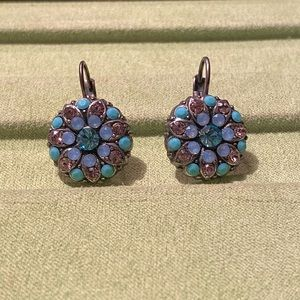 New Silver Plated Earrings-Crystal/Fabric Beads